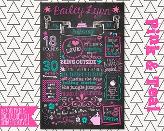 First Birthday Chalkboard Sign Printable / Pink and Teal / DIGITAL / Printable / poster / Babys First Birthday / Plus FREE Web File