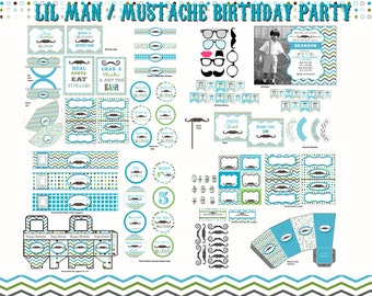 Mustache Party Mustache Birthday Party Lil' Man Party Lil' Man Birthday Little Man Party Little Man Birthday baby shower printable digital