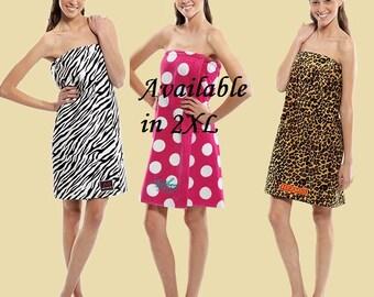 Womens Terry Velour Towel Wraps- Dots & Animal prints
