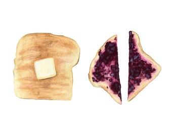 Toast Art // Food Illustration // Archival Art Print