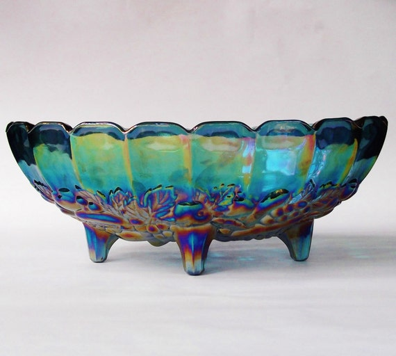 Blue Glass Bowl Antique Blue Carnival Glass Fruit Bowl