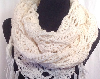 Triangle-Stitch Fisherman's Wool Infinity Crochet Scarf