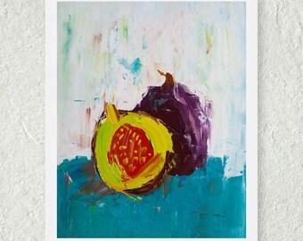 Fig Print, Fruit Painting, Kitchen Art Print, Fine Art Print, Palette Knife Art, Abstract Print, Original Art Print, Impasto Oil Painting