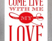 Come Live With Me and be My Love Printable Card, Digital Download, Instant Download, Christopher Marlowe Valentine's Day Card, Poetry, Quote