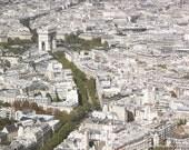 Arc de Triomphe Photograph, Eiffel Tower, Paris, Travel Photography, Wall Art, France Photography, Home Decor, Green White Tan Neutral Brown