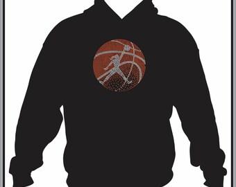 Basketball Hoodie/ Basketball Sweatshirt/ Basketball Clothing/ Basketball/ Rhinestone Fading Basketball Design With Girl Hoodie Sweatshirt