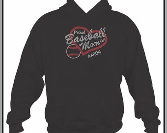 Baseball Mom Sweatshirt/ Rhinestone Baseball Mom/ Proud Baseball Mom of Players Name or Number Custom Personalized Hoodie Sweatshirt