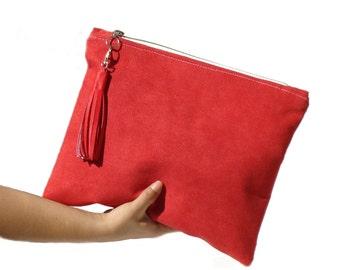 Poppy red large clutch, vegan suede clutch, large red clutch, casual bag, suede bag, leather tassel clutch, faux suede clutch, portfolio bag