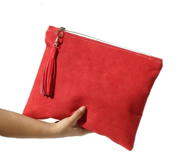 Poppy red large clutch vegan suede clutch large red clutch