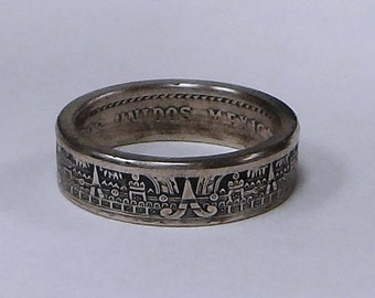 MAYAN CALENDAR Coin Ring made from Mexican 10 centavos coin sizes 4 -10