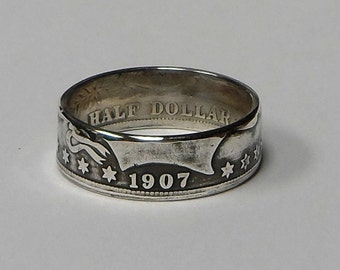 Coin Ring made from 1907 BARBER US silver half dollar size 9,10,11,12 or 13