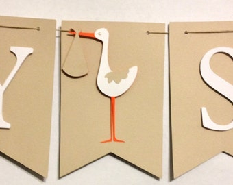 Baby Shower Banner, Shower Decorations, Party Decorations, Stork Theme