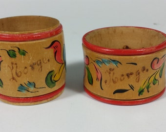 Vintage 1913 Wooden Hand Painted Napkin Ring set of 2