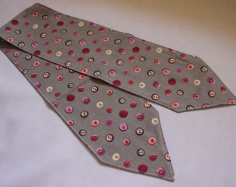 CLEARANCE - Headscarf, Vintage style, Grey (Gray) Button Print Quilting Cotton