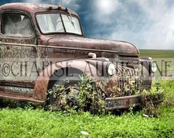 Digital Photography Backdrop/Background/Stock/Digital Design Resource/Old Junk Car/Commercial Use