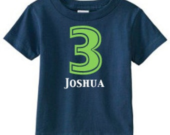 Personalized Birthday Number T-Shirt - custom with ANY number and available in 8 color combinations | Birthday T-Shirt | 3rd Birthday Shirt