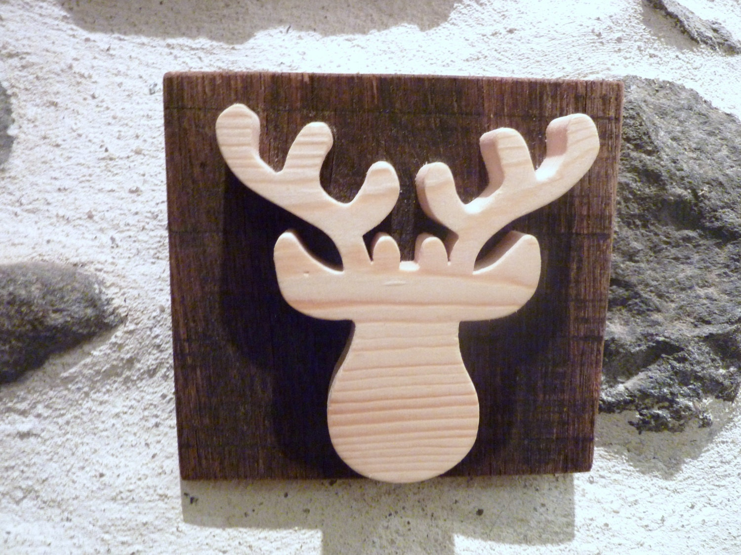 reindeer decor wooden reindeer wall sign head of reindeer. Black Bedroom Furniture Sets. Home Design Ideas