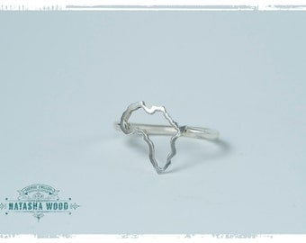 Sterling silver Africa outline Ring