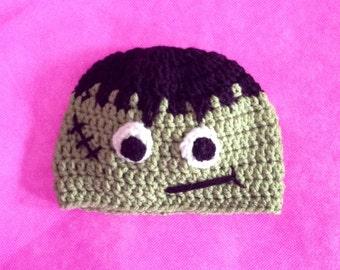 Frankenstein Hat - Crochet Halloween Monster Hat - Kids Halloween Costume - Toddler Halloween Costume - Baby Halloween Costume