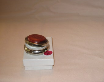 Mini Pill Box with 3 sections (Stabalized Curly Cherry) in a pewter finish