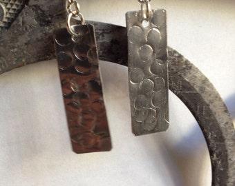 Drop, silver, rectangle, metal, hammered, dangle, earrings