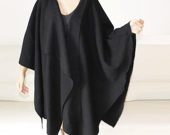 Poncho Wool coat, women cape,wool wrapped asymmetric cape, loose fitting poncho coat, black wool cardigan