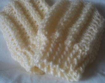 Hand knit Aran mittens twist stitch design