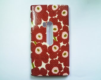 Marimekko Maroon Flowers iPhone 4/4s/5/5s Cover, Samsung Galaxy S4 /Young Case, Abstract Nokia Lumia 521/920/925 Case, HTC One M7/XS Case