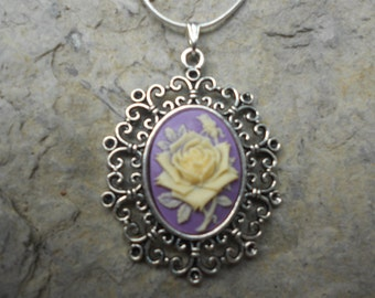 "Stunning Cream Rose on Lavender Cameo Pendant Necklace---.925 plated 22"" Chain--- Great Quality"