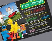 Print-it-Yourself, Sesame Street Photo Invitations - Twins or Single