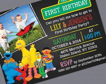 Print-it-Yourself, Sesame Street Photo Invitations - Twins or Single