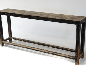 Slim Recycled Wood Console Table Shelf By Terra Nova