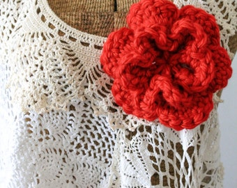 Double Layer 6 Petal Crochet Flower Brooch, Crochet Accessory, Shawl Pin, Ruby Red