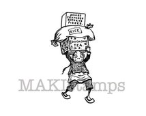 Chinese rubber stamp / Chinese Brownie carrying tea and fireworks / Unmounted rubber stamp (131113)