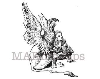 Alice in Wonderland and Gryphon / Alice rubber stamp / unmounted stamp or cling stamp  (130103)