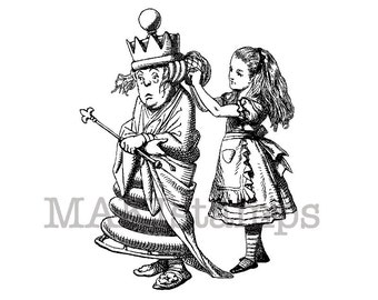Rubber stamp Alice dresses the Queens Hair / Alice in Wonderland / Craft rubber stamp (140801)