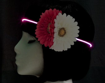 Pink Light Up Adjustable Flower Headband – Pink & White Flowers