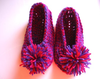 Purple and pink women's slippers with pom poms, adult crochet slippers, house shoes, valentine's day gift, ready to ship