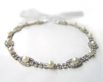 Wedding Pearl Hair Accessories, Great Gatsby Jewelry, Pearl Hairpiece, Rhinestone Pearl Headband, Bridesmaid Headband, Old Hollywood Glam