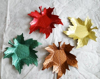 4 Anodized Colored Aluminum Leaf Shapes - Trinket - Snack - Horderves Plates