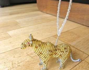 African Beaded Wire Animal Sculpture - LEOPARD Christmas Tree Decoration - Natural