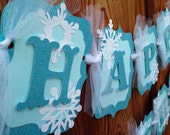 Frozen birthday banner party decorations