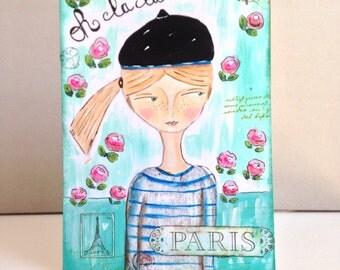 Mixed Media original girl-Whimsical-Original painting-French Girl painting-