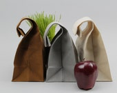 "The ""Brown"" Bag // TRIO of WAXED Canvas Lunch Bags, updated, eco-friendly classics"