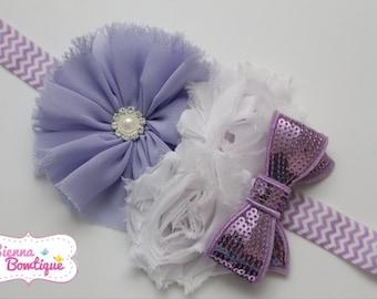 Baby Girl Headband Newborn Headband Shabby Headband Lavender Headband Large Headband