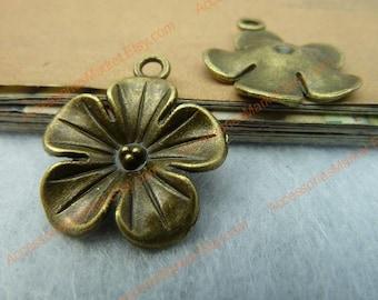 45 Plum Flower Charms, 20mm Brass Tone Bloom Pendants T-C2638