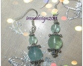 Handmade Silver Hook Earrings with Green Fluorite