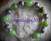 Beautiful Handmade Silver Bracelet with Old Green Jade & Silver balls by IreneDesign2011