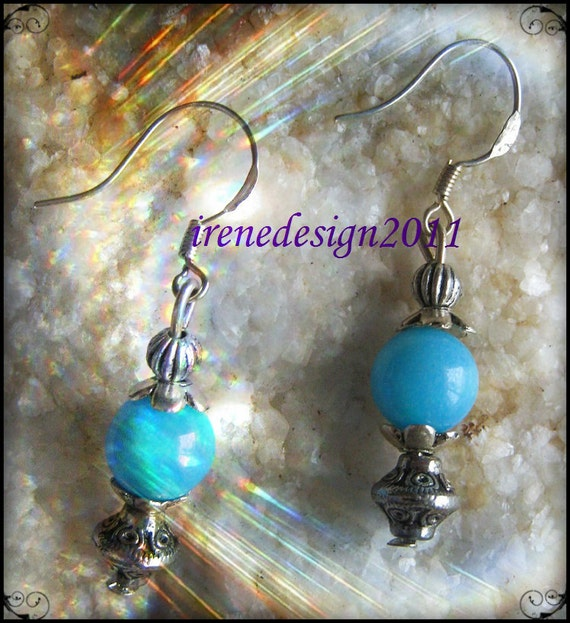 Handmade Silver Earrings with Turquoise Jade by IreneDesign2011