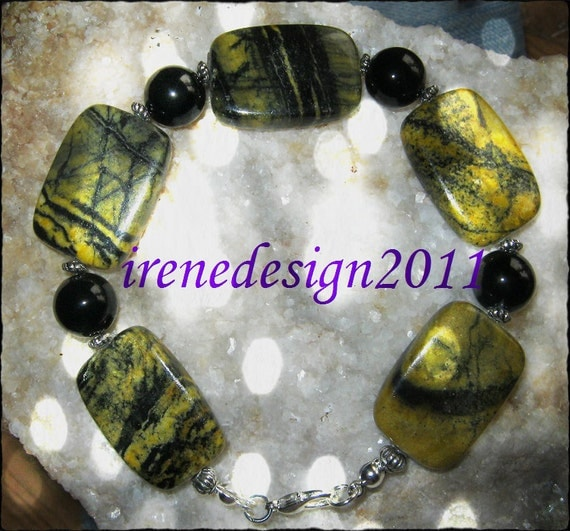 Beautiful Handmade Silver Bracelet with Yellow/Black Turquoise & Black Onyx by IreneDesign2011